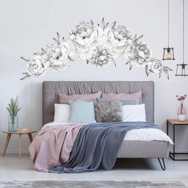 Adesivo murale fiori - Set di peonie bianco e nero chiaro