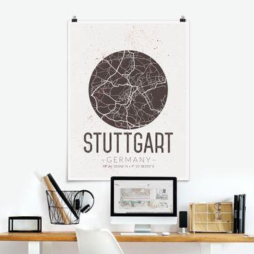 Poster - Mappa Stoccarda - Retro - Verticale 4:3