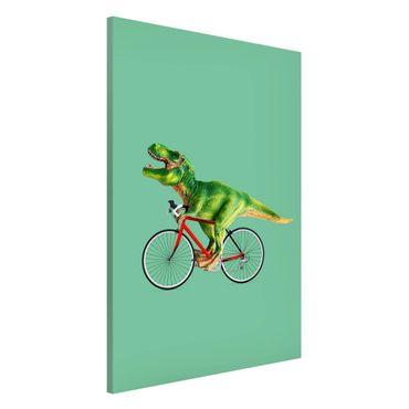 Lavagna magnetica - Dinosauro con la bicicletta - Formato verticale 2:3