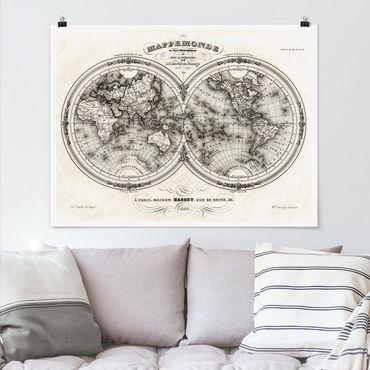 Poster - Mappa del mondo - Mappa francese del Cap del 1848 - Orizzontale 3:4