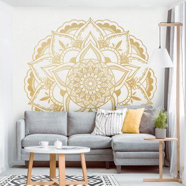 Carta da parati - Mandala Fiore Oro Bianco- Formato quadrato