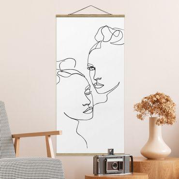 Quadro su tessuto con stecche per poster - Line Art Faces donne Bianco e nero - Verticale 2:1