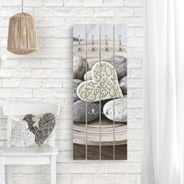 Appendiabiti in legno - Carpe Diem di cuore con pietre - Ganci cromati - Verticale
