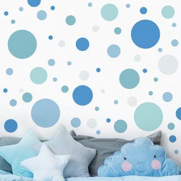 Adesivo murale - Punti Confetti Blu Grigio Petrol Set