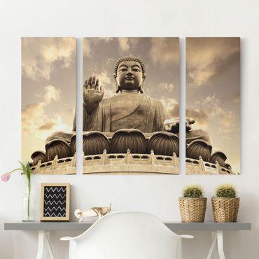 Stampa su tela 3 parti - Big Buddha Sepia - Trittico