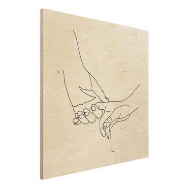 Stampa su legno - Tender Mani Line Art - Quadrato 1:1