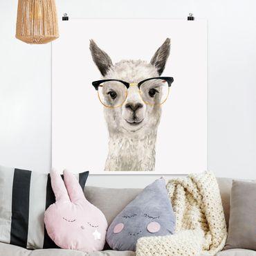 Poster - Hip Lama con i vetri I - Quadrato 1:1