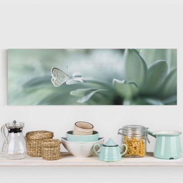 Stampa su tela - Farfalla E Gocce di rugiada In Pastel Verde - Panoramico