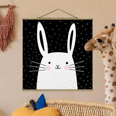 Foto su tessuto da parete con bastone - Zoo con Patterns - Coniglio - Quadrato 1:1