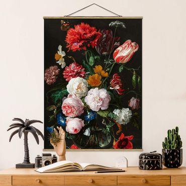Foto su tessuto da parete con bastone - Jan Davidsz De Heem - Natura morta con fiori in un vaso di vetro - Verticale 4:3