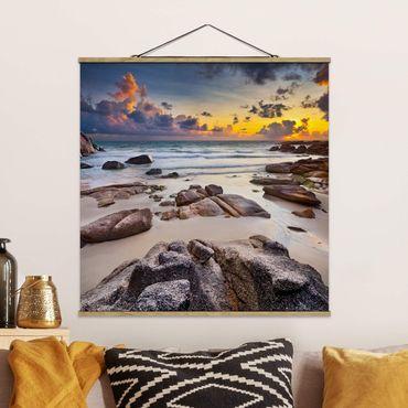 Quadro su tessuto con stecche per poster - Sunrise Beach In Thailandia - Quadrato 1:1