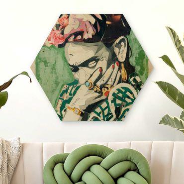 Esagono in legno - Frida Kahlo - Collage No.3