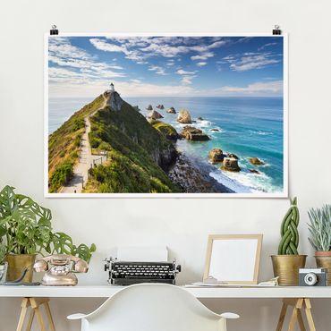 Poster - Nugget Point Lighthouse e Sea Zelanda - Orizzontale 2:3