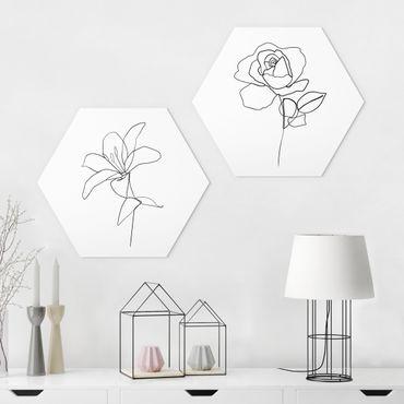 Esagono in forex - Line Art Flowers Nero Set Bianco