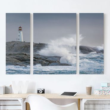 Stampa su tela 3 parti - Storm Waves At The Lighthouse - Trittico
