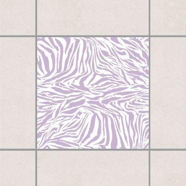 Adesivo per piastrelle - Zebra Design Lavender 10cm x 10cm