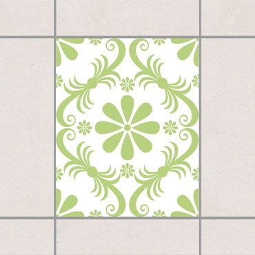 Adesivo per piastrelle - Flower Design White Spring Green 25cm x 20cm