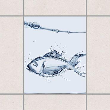 Adesivo per piastrelle - Liquid Silver Fish 25cm x 20cm