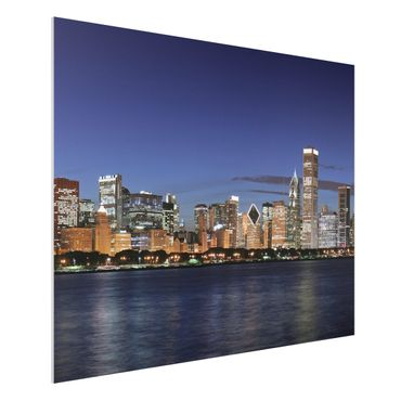 Quadro in forex - Chicago Skyline at night - Orizzontale 4:3