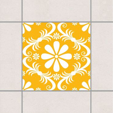 Adesivo per piastrelle - Floral Melon Yellow 25cm x 20cm
