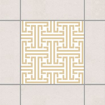 Adesivo per piastrelle - Decorative Labyrinth Light Brown 15cm x 15cm