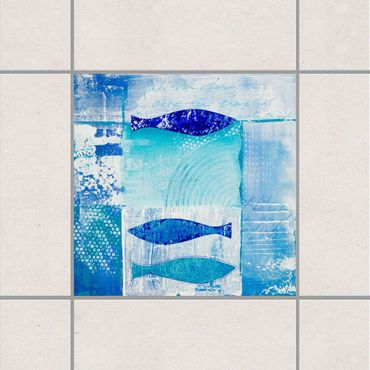 Adesivo per piastrelle - Fish in the Blue 25cm x 20cm