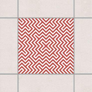 Adesivo per piastrelle - Geometric stripe pattern Red 25cm x 20cm