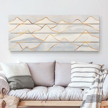 Stampa su legno - Elisabeth Fredriksson - Acquerello Monti oro bianco - Orizzontale 2:5