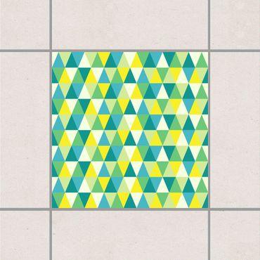 Adesivo per piastrelle - Green Triangles 25cm x 20cm