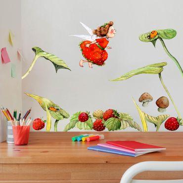 Adesivo murale - Strawberry coniglio Erdbeerfee - foglie e fragole