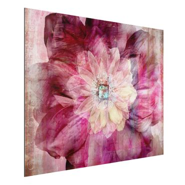 Quadro in alluminio - Grunge Flower