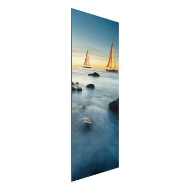 Quadro in alluminio - sailboats in the ocean