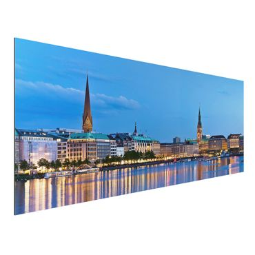 Quadro in alluminio - Hamburg Skyline