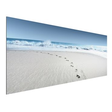 Quadro in alluminio - Footprints in the sand