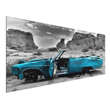Quadro in alluminio - Turqouise Cadillac