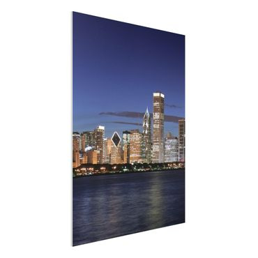 Quadro in forex - Chicago Skyline at night - Verticale 3:4