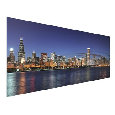 Quadro in forex - Chicago Skyline at night - Panoramico