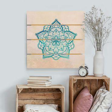Stampa su legno - Mandala illustrazione Mandala oro blu - Quadrato 1:1