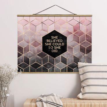 Foto su tessuto da parete con bastone - Elisabeth Fredriksson - Ha creduto che potesse in oro rosa - Orizzontale 3:4