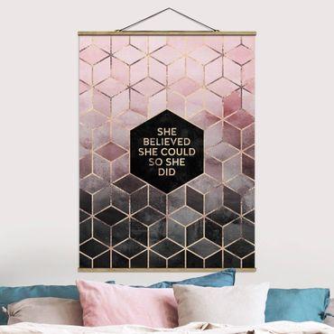 Foto su tessuto da parete con bastone - Elisabeth Fredriksson - Ha creduto che potesse in oro rosa - Verticale 4:3