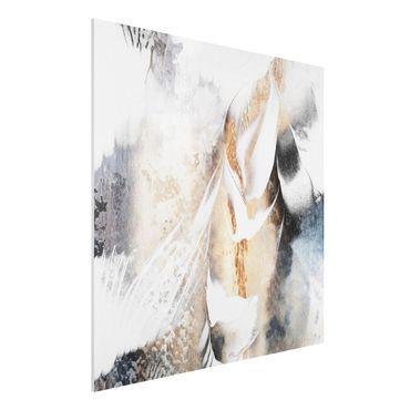 Stampa su Forex - Oro pittura astratta inverno - Quadrato 1:1