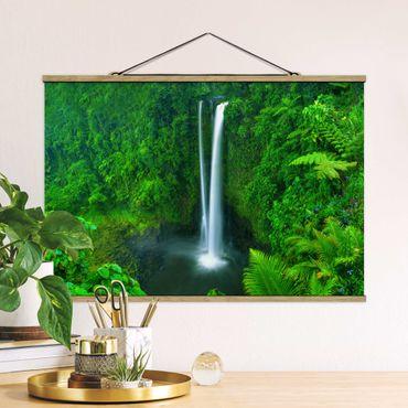 Foto su tessuto da parete con bastone - paradisiaca Waterfall - Orizzontale 2:3