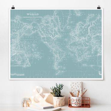 Poster - Mappa del mondo in Blue Ice - Orizzontale 3:4