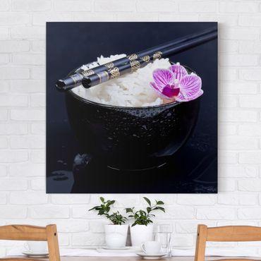 Stampa su tela - Rice Bowl Con L'orchidea - Quadrato 1:1
