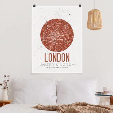 Poster - Mappa di Londra - Retro - Verticale 4:3