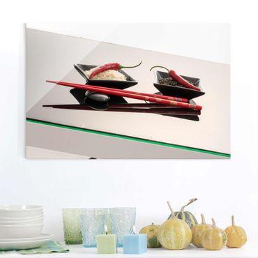 Quadro in vetro - Peperoncini rossi a Rice Bucce - Orizzontale 2:3