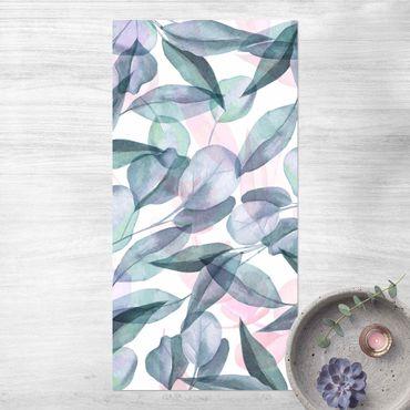 Tappeti in vinile - Foglie di eucalipto in acquerello blu e rosate - Verticale 1:2