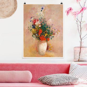 Poster - Odilon Redon - vaso con fiori (rosa sfondo color) - Verticale 4:3