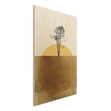 Stampa su legno - Sole dorato con albero - Verticale 3:2