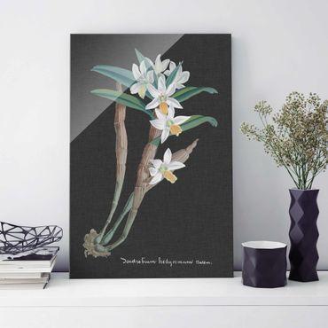 Quadro in vetro - White Orchid su tela di canapa I - Verticale 3:2